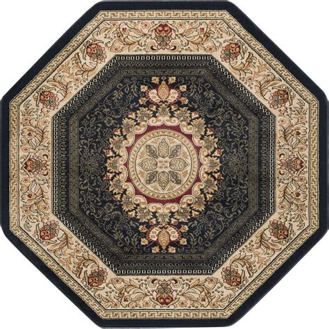 octagon shaped area rugs tayse rugs sensation black 7 ft 10 in traditional