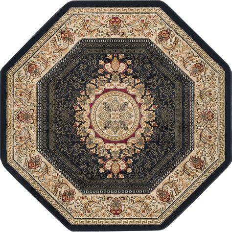 6 octagon rug tayse rugs sensation black 5 ft traditional octagon area