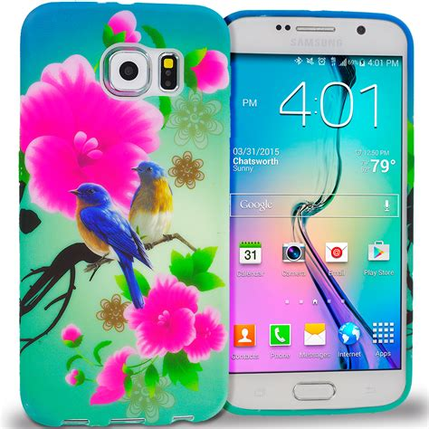 Samsung S6 Edge Soft Flower Rubber Casing Elegan blue bird pink flower tpu design rubber skin cover for samsung galaxy s6 edge