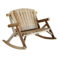 Loveseat Lawn Chair Cedar Log Rocking Loveseat Bench Rustic Patio Furniture