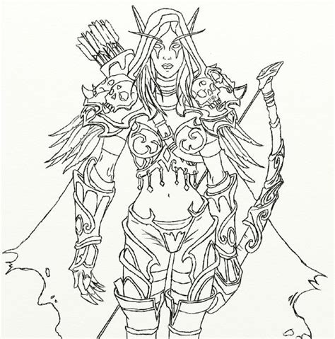 how to draw sylvanas sylvanas windrunner outline by kaevia on