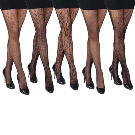 patterned tights vogue 5 pack of ladies assorted black fishnet patterned fashion