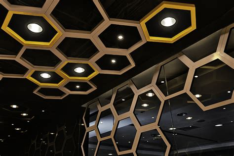 Honeycomb Ceiling by As Design Create Playful Honeycomb Restaurant Rice Home
