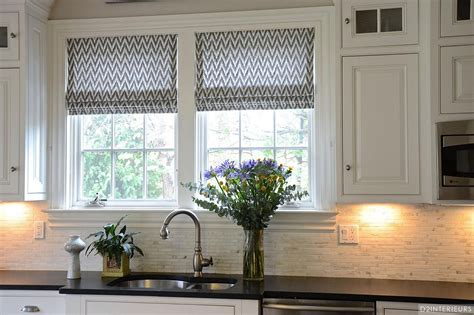 French Country Roman Shades - black and white kitchens and their elements