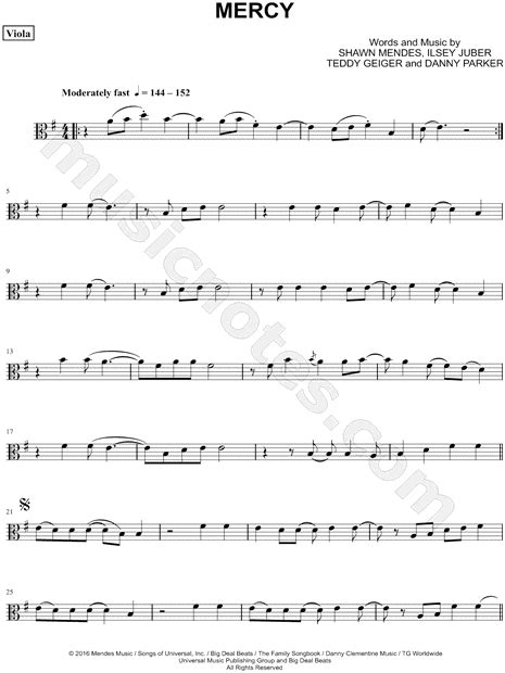 "Shawn Mendes ""Mercy - Viola"" Sheet Music in E Minor"
