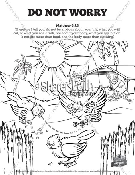 matthew 6 do not worry sunday school coloring pages