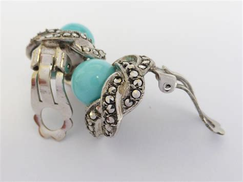 Shuma Termos 035 Liter Silver vintage sterling silver marcasite and turquoise glass clip on from beryl on ruby