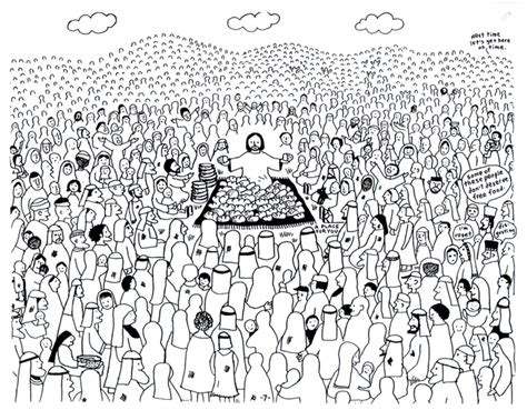 Coloring Page Feeding 5000 by Feeding The Multitude Jesus Feeds 5000
