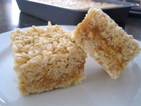 sweet escape caramel filled rice krispie bars