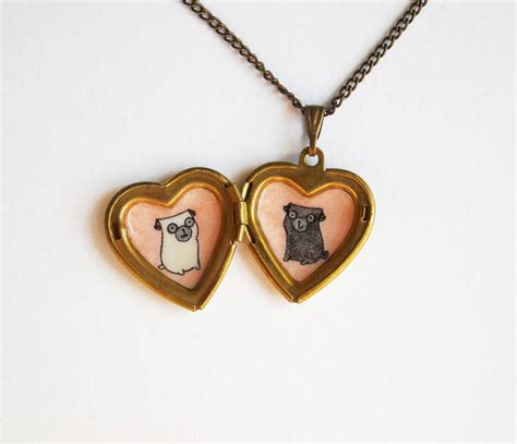 pug jewelry pug jewelry locket necklace with fawn and black pug