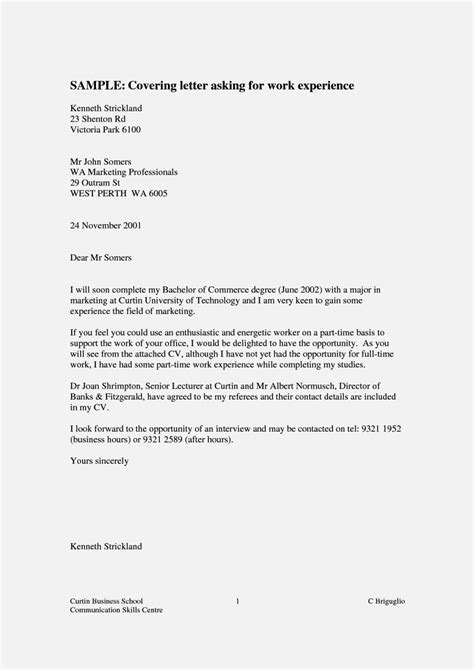 Cover Letter No Experience by Cover Letter No Work Experience Resume Template Cover Letter