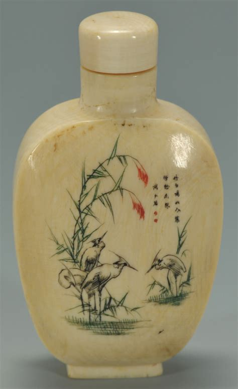 lot  chinese carved ivory snuff bottle  cranes
