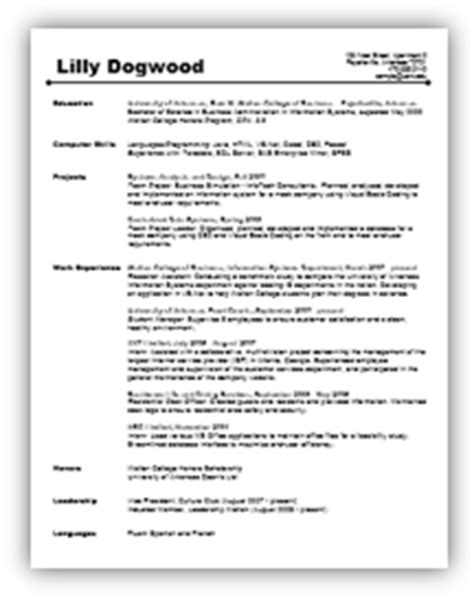 Resume Sample Undergrad by Resumes And Letters Career Services Walton College