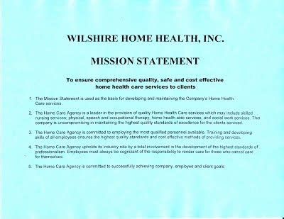 mission statement wilshire home health
