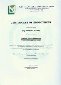 Certification Letter Of Previous Employment Employment Certificate