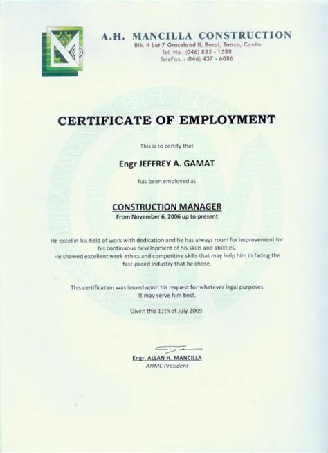 Excellent Certificate Of Employment Template For Construction Employee With Header For Company Certificate Of Employment Template