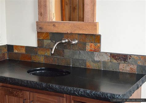 brown gray subway slate backsplash tile backsplash