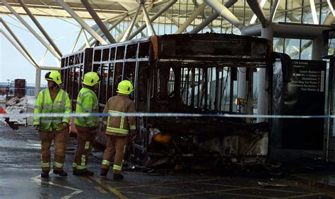 flights cancelled  shuttle bus catches fire