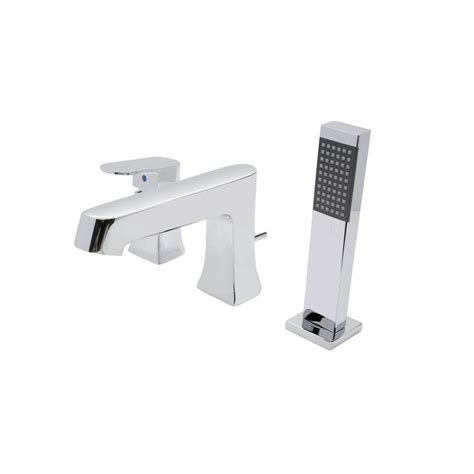 handheld bathtub faucet anzzi rin series single handle deck mount roman tub faucet with handheld sprayer in polished