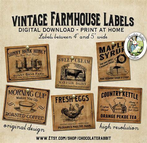 Retro Canisters Kitchen vintage country farmhouse primitive prim labels digital