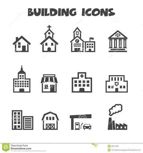 Earth House Plans building icons stock vector image of school business