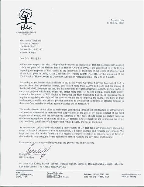 Release Letter Cayman hic housing and land rights network