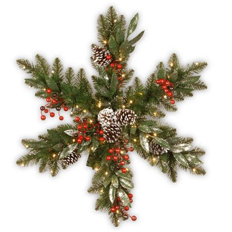 battery operated snowflake lights national tree company 32 in frosted pine berry snowflake