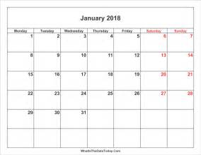 Calendar 2018 January Printable Best January 2018 Calendar Printable Free Monthly