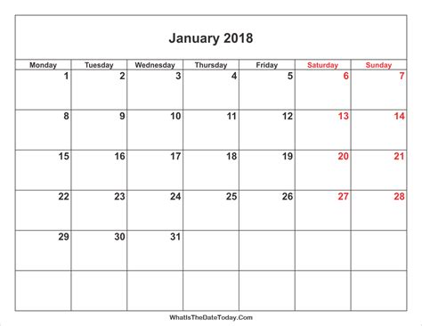 printable calendar without weekends january 2018 calendar with weekend highlight