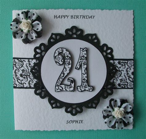 Handmade 21 Birthday Card - bizzie lizzie cards 21st birthday card