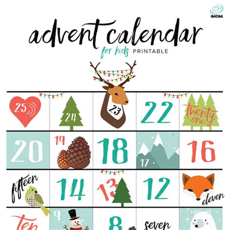 printable advent calendar for toddlers printable advent calendar for kids imom