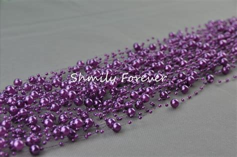 free shipping 60meters spool purple pearl bead garland