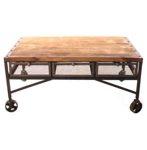 coffee table with drawers and wheels tribeca industrial mesh drawer caster wheel coffee table