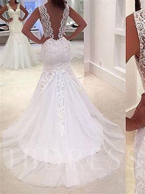 appliques for wedding dresses deep v neck appliques mermaid wedding dress tbdress