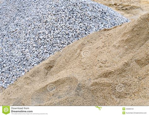 Material Sand And Gravel Piles Sand And Gravel Stock Photo Image 42569134