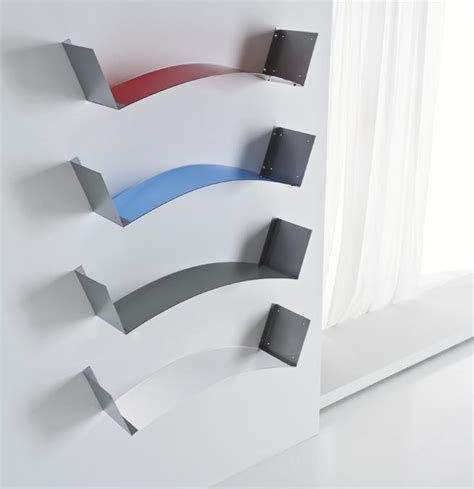 mensole porta libri mensola da muro moderna onda in metallo bianco