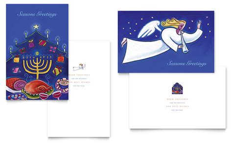 Seasons Greetings Card Templates Free by Seasons Menorah Greeting Card Template Word