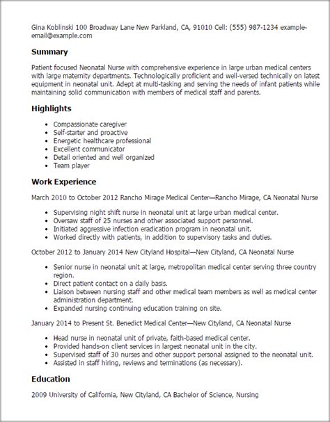 rn resume sles nicu professional neonatal templates to showcase your