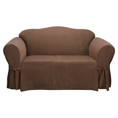 suede loveseat shop soft suede chocolate microsuede loveseat slipcover at