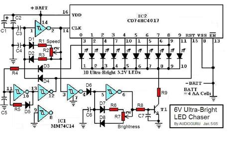 led circuits diagrams 6v ultra bright led chaser circuit