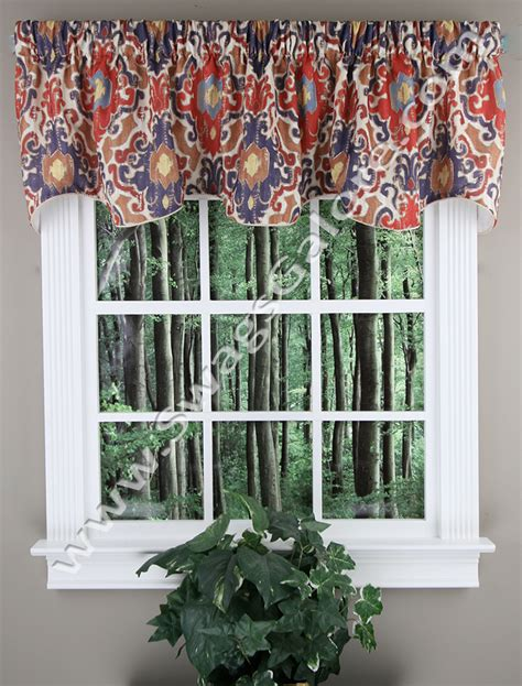 Tuscany Ikat Medallion Scalloped Valance Red Eliis Tuscany Kitchen Curtains