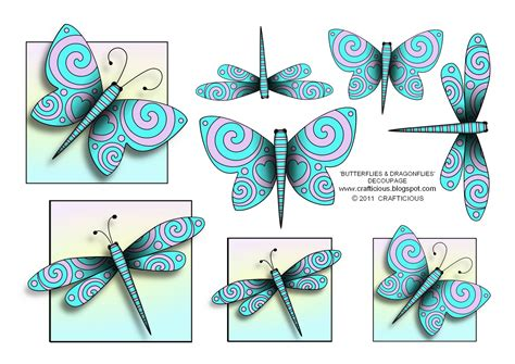 Printable Decoupage - crafticious butterflies dragonflies free decoupage sheet