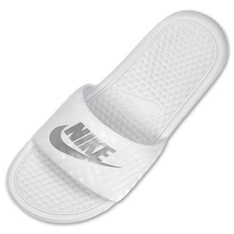 white nike sandals for s nike benassi jdi swoosh slide sandals white silver