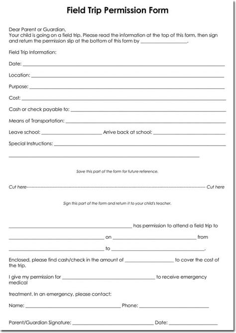 template permission slips template