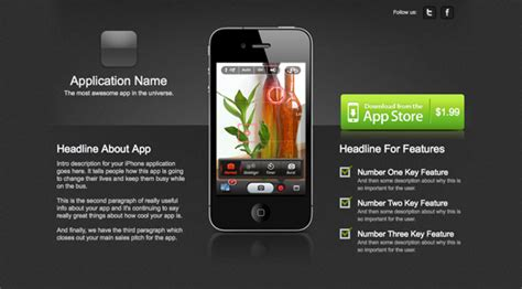 10 Ways To Increase Conversions On Mobile App Landing Pages Iphone App Landing Page Template