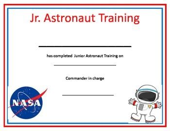 nasa id card template kindergarten astronaut space certificate by s