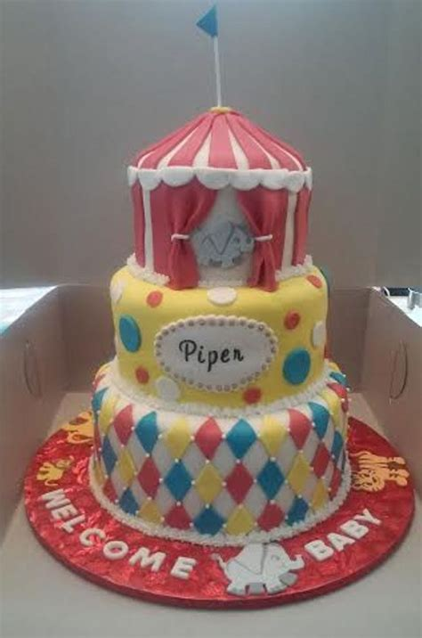 Circus Themed Baby Shower Cakes by 3 Tier Circus Themed Baby Shower Cake Cakecentral