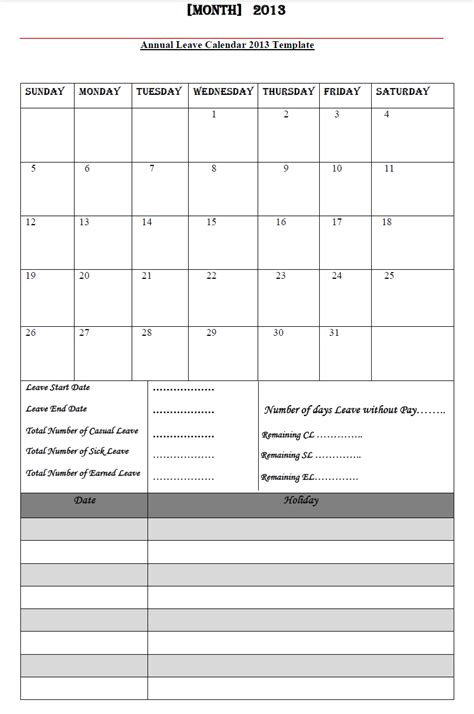 sles of leave calendar calendar template 2016