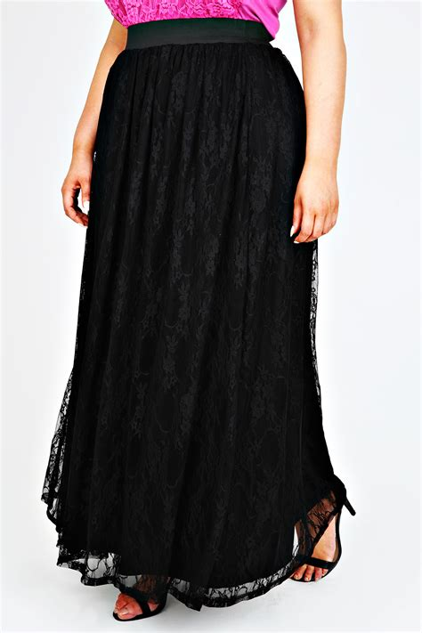 black jersey maxi skirt with lace overlay plus size 14 to 32
