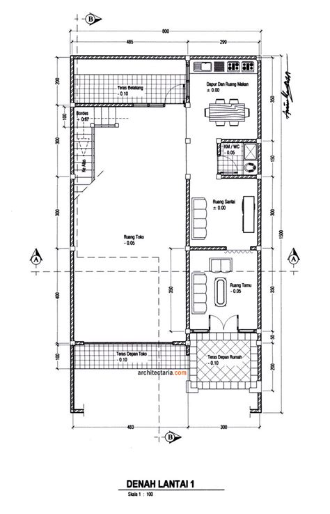 rancangan layout fasilitas produksi untuk sebuah usaha desain rumah dan ruang usaha ruko rukan 2 lantai pt